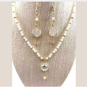 Frosted White & Gold~Necklace & Earrings Set